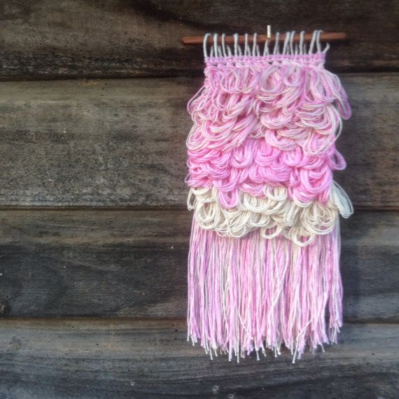Girly Woven Wall Hanging by handspunandweaving on Etsy