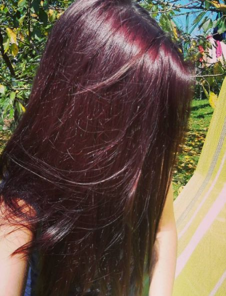 Mahogany purple brown hair color. :) More