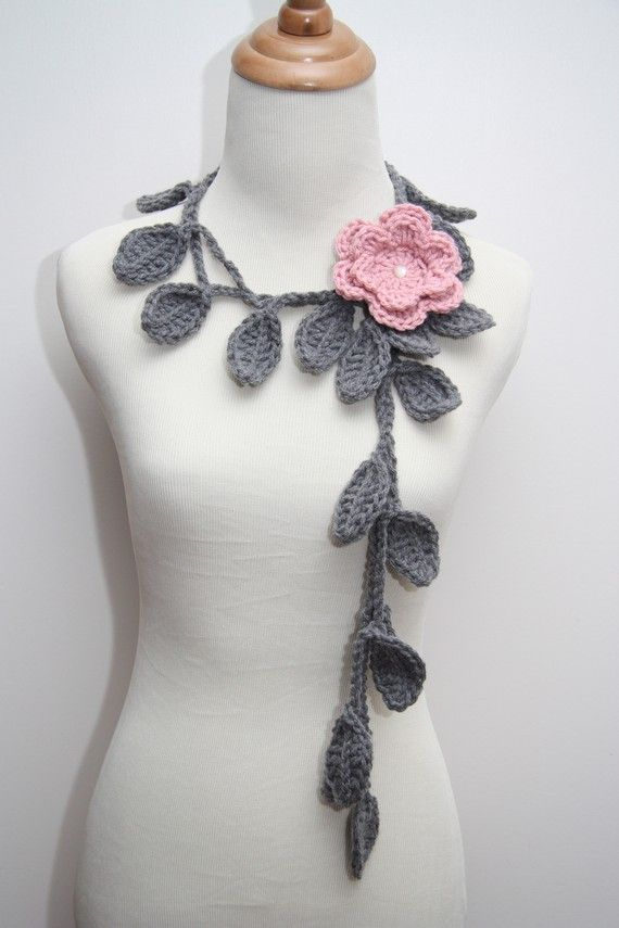 Crocheted Grey Leaf Necklace with Rose Pink Flower Brooch