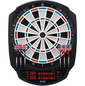 Add the Fat Cat® Rigel Dartboard to any game room or recreational area for endless entertainment. Stacked with 32 games and 305 scoring options, the Rigel is the ultimate dartboard for helping you to stay on top of your game. The voice and sound effects give an all-around upgraded experience so you can easily get your head in the game when it matters most.