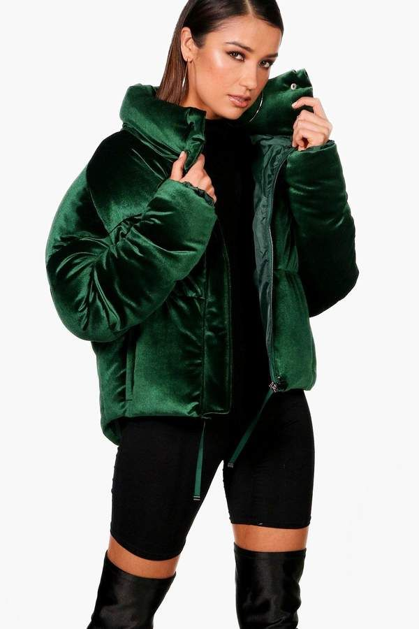 debd8204146e Velvet Crop Funnel Neck Puffer in 2019 | wants | Green puffer jacket ...