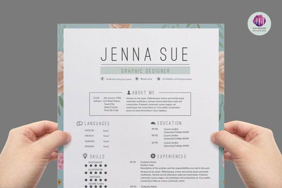 Super chic , modern resume template package : CV template , cover letter template , reference letter template                                                                                                                                                      Más