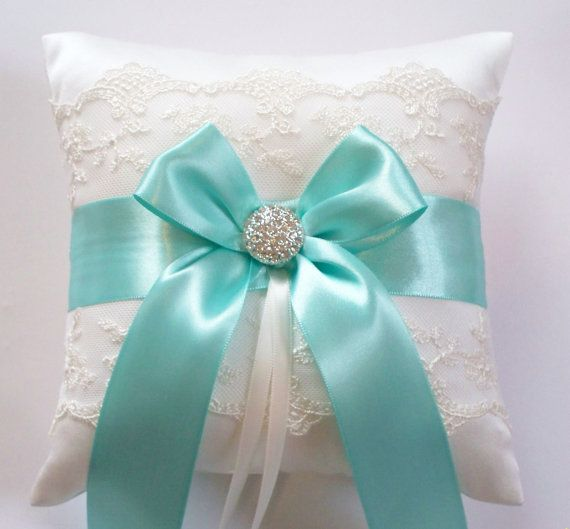 Wedding Ring Pillow Tiffany Blue Ribbon Pillow with by JLWeddings, $42.50....Beyond obsessed with this pillow! must get this!!
