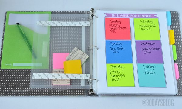 I love this Post-it Note Grids Idea for plaining weekly meal and goals. I can just take it off when I'm finished. almost like a check list.