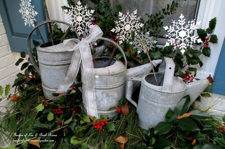Rustic Watering Cans Windowboxes and More   http://ourfairfieldhomeandgarden.com/rustic-watering-cans-windowboxes-more/