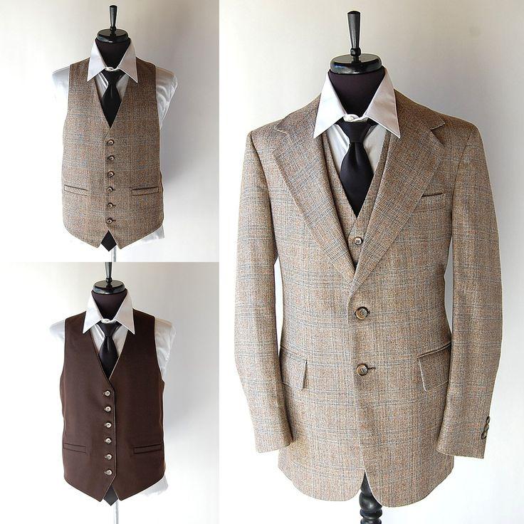 vintage Mens 3 Piece Wool Suit . Reversible Vest . Brown Cream Blue Windowpane Plaid . 40 42. $94.00, via Etsy.