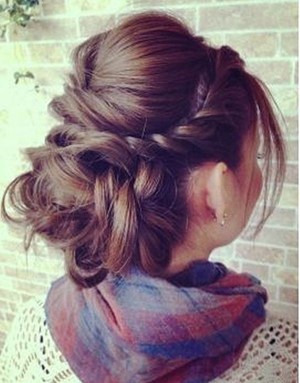 Messy Up-do hairstyle with side braids~ natural, fashion and easily making