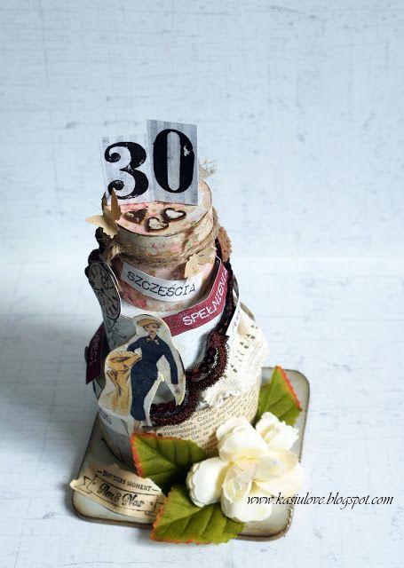 nietypowa kartka urodzinowa na 30 urodziny / kartka w kształcie tortu