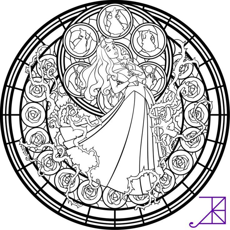 Stained Glass Coloring Pages Disney Sleeping Beauty Disney