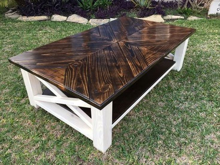 A Beautiful Dark Wood Farmhouse Coffee Table With White Legs Both For Indoor And Outdoors Coffee Table Farmhouse Diy Coffee Table Coffee Table Plans
