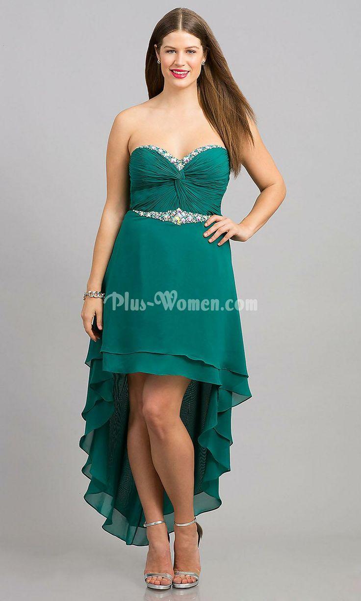 emerald chiffon high low strapless sweetheart plus size prom dress ...