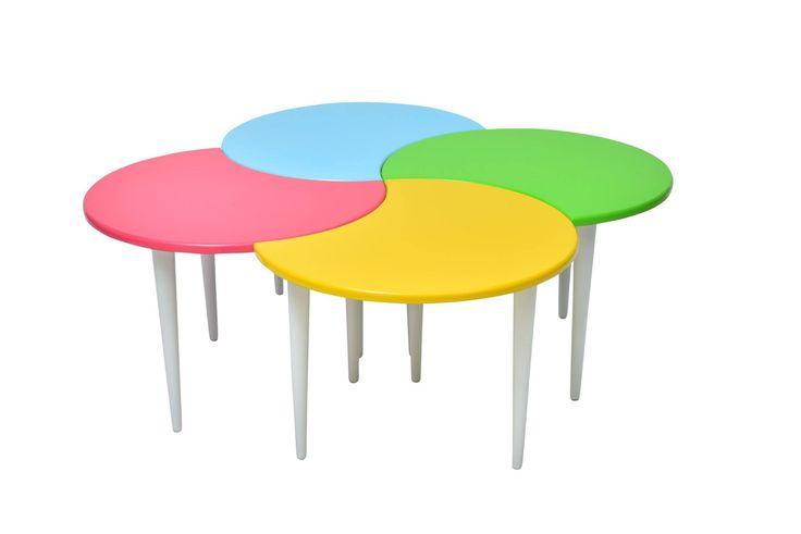 "Adrasant Table Walnut Stylish 40""X40""X17"" Round Colourful"