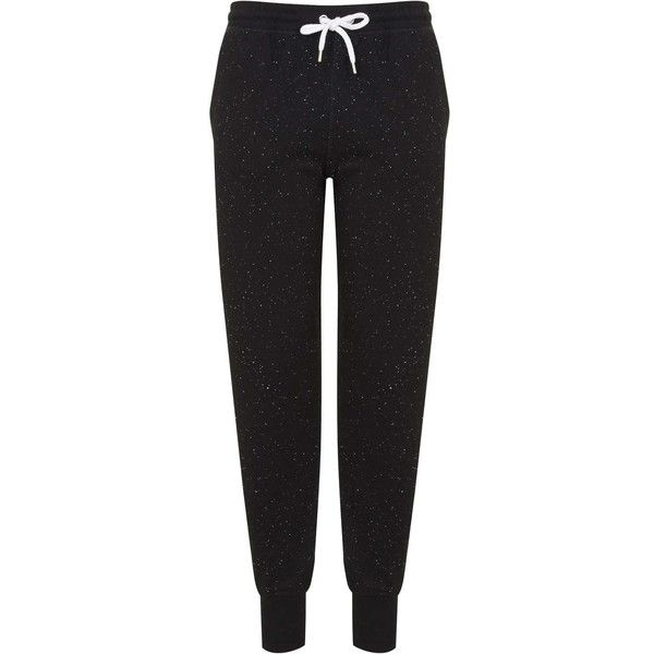 TOPSHOP Neppy Joggers (£25) ❤ liked on Polyvore featuring activewear, activewear pants, pants, bottoms, sweatpants, black, black sweatpants, sweat pants, jogger sweat pants and cotton sweat pants
