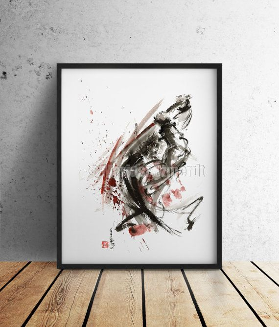 Samurai Poster Warrior Japanese Samurai Sword Art Abstract Calligraphy Artwork Japanese Style Art