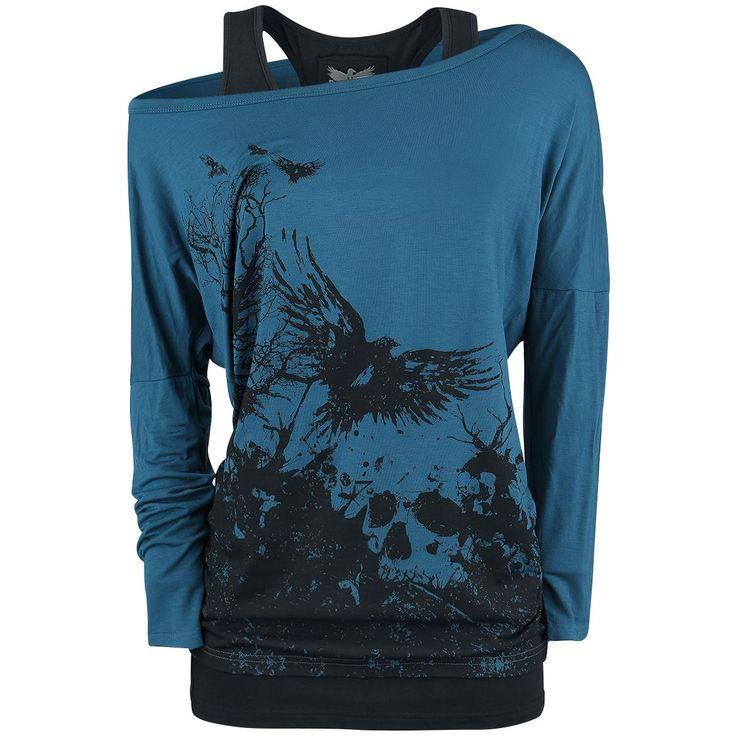 Longsleeve von Black Premium by EMP:  - Double-Layer-Look - Frontprint - Zweiteilig: auch einzeln tragbar - Fledermaus-Shirt  - weiter Ausschnitt