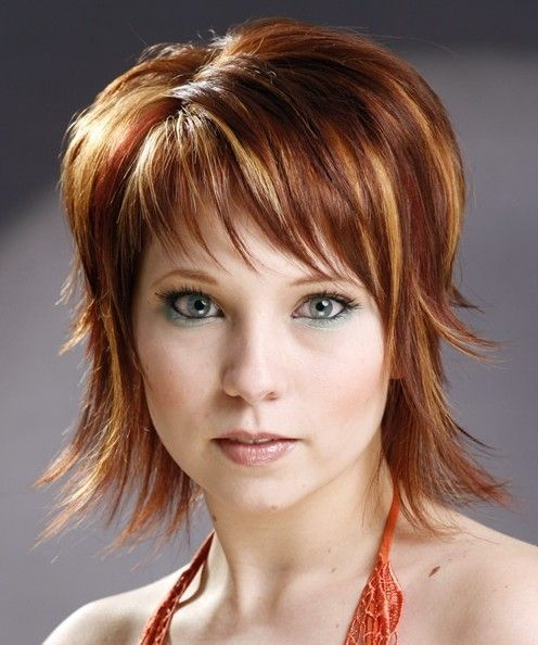 Medium shag with bangs | This short shag hairstyle looks cute and neat. The fine smooth hair ...