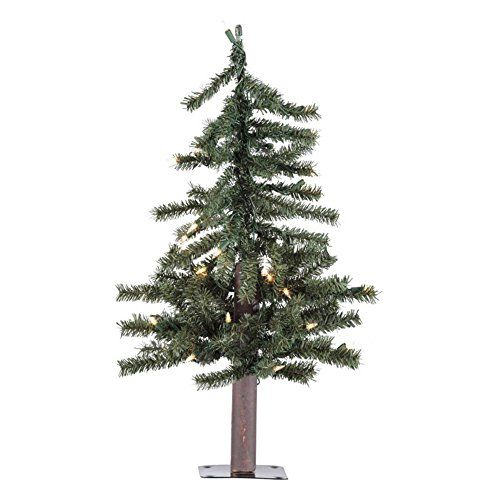 *** Challenge the offers awaits you : Vickerman Pre-Lit Natural Alpine Tree with 150 Clear Mini Lights,  5-Feet, Green at Christmas Home Decor .