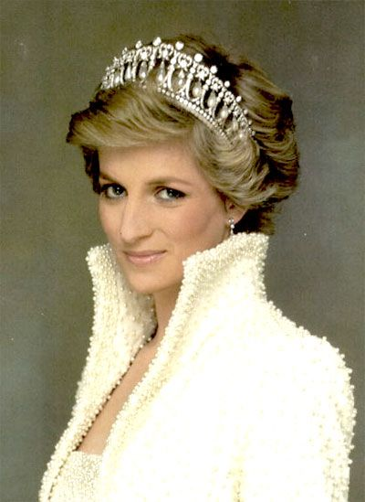 """Sequin and oyster pearl embroidered dress and tailored bolero with Elizabethan collar commissioned in November of 1989 for an official visit to Hong Kong.  Nicknamed the """"Elvis dress"""".  Designer Catherine Walker says the weight of the dress was """"immense""""."""