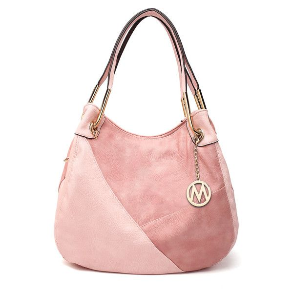 Women's MKF Collection by Mia K Farrow MKF Collection Two Tones... ($38) ❤ liked on Polyvore featuring bags, handbags, shoulder bags, pink, vegan handbags, pink handbags, pink purse, shoulder strap bags and faux leather shoulder bag