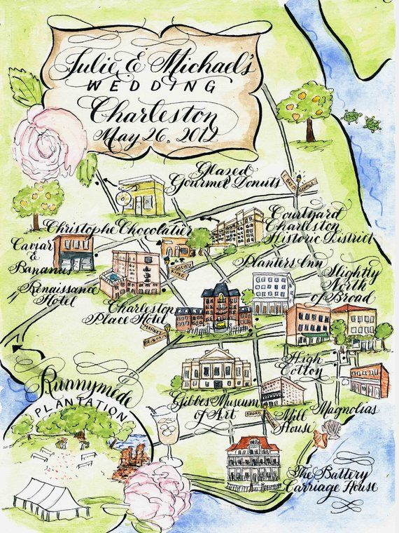 Watercolor Wedding Map Charleston By Robyn Love In 2020
