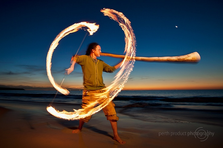 Portrait of Sanshi, playing didgeridoo and fire twirling. more images at http://www.photographyproject.com.au/