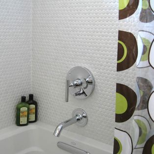penny-round tiles make a simple, inexpensive yet classic