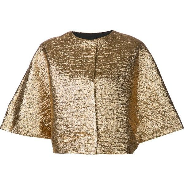 Lanvin wide sleeve metallic top (190,080 INR) ❤ liked on Polyvore featuring tops, metallic, metallic top, sleeve top, loose tops, loose fitting tops and loose fit tops