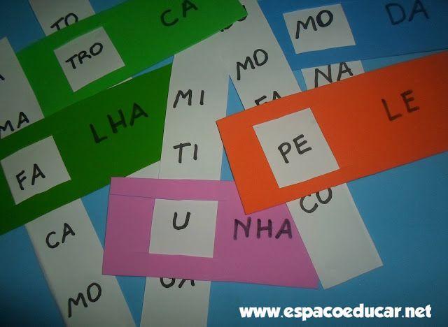 Atividade de alfabetização: Jogo do encaixe para formar palavras, com fichas…