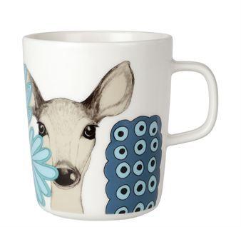 Beautiful reindeers and fantastic flowers is the lovely motif on the Kaunis Kauris mug from Marimekko, designed by Teresa Moorhouse.