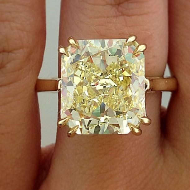 Engagement Ring Eye Candy: Fancy Yellow Diamond Solitaire Engagement Ring
