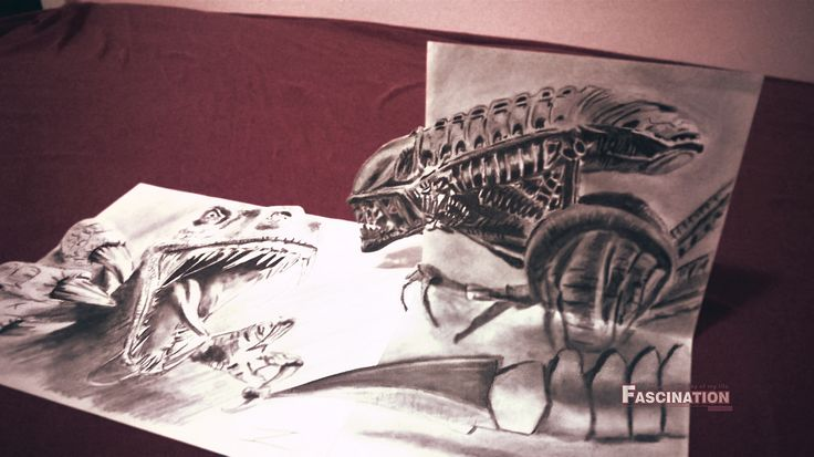 Dinosaur vs Alien 3D draw