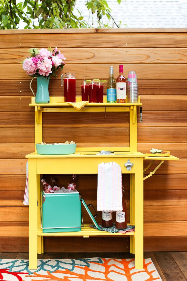 Turn the World Market Potting Bench Into an Outdoor Party Cart Bar with this tutorial // Salty Canary (sponsored)