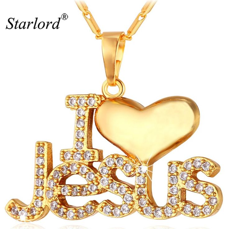 Starlord Jesus Piece Pendant Necklace Trendy Gold Color Chain Crystal Heart Necklace WomenMen Christian Jewelry P1128 #Affiliate