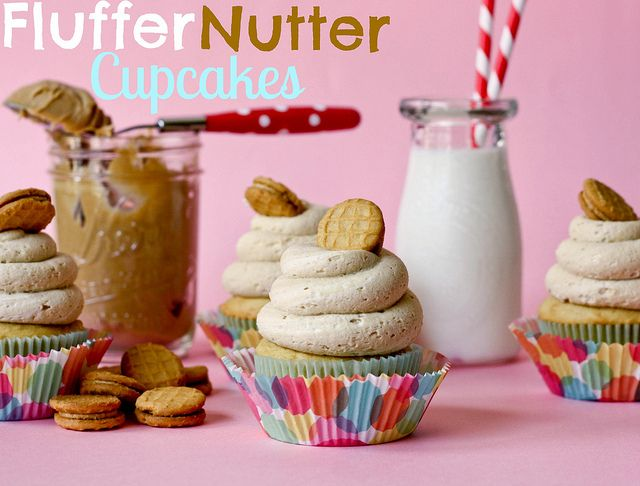 Fluffernutter Cupcakes...  I want to try the peanut butter marshmallow frosting!