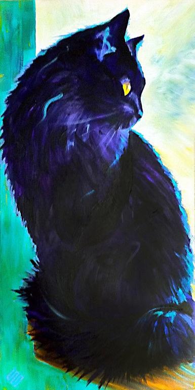 Wow. Amazing cat painting!Cat Art, Kitty Cat, Cat Painting, Catart, Online Artists, Saatchi Online, Steve Gambas, Blackcat, Black Cat