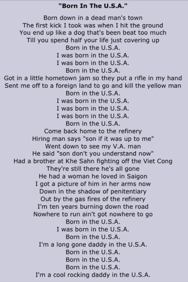 Bruce Springsteen Born in the USA lyrics Pop lyrics