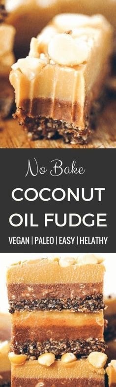 Three layers of coconut oil caramel fudge- refined sugar free, raw, paleo. Layered with tahini + almond butter fudge! Paleo candy recipes. Paleo candy bar. SO easy to make! Tastes like Christmas candy, but it's sugar free, paleo, and raw! Paleo candy pecans. Low carb candy. Healthy candy recipes. Paleo caramel. Easy healthy paleo caramel. Paleo fudge. Easy almond butter fudge. Tahini fudge. Healthy dairy free fudge recipes. Coconut oil fudge