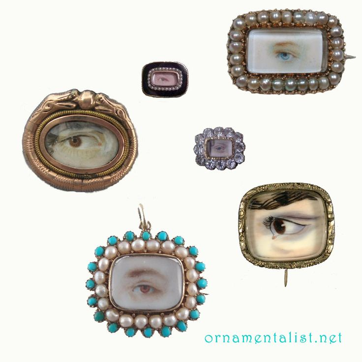 Lover's Eye brooches - mourning or love token - early 1800's: Eye Candy, Hand Painted Eyes, Lovers Eyes, Jewelry, Eye Brooches, Eyes Miniatures
