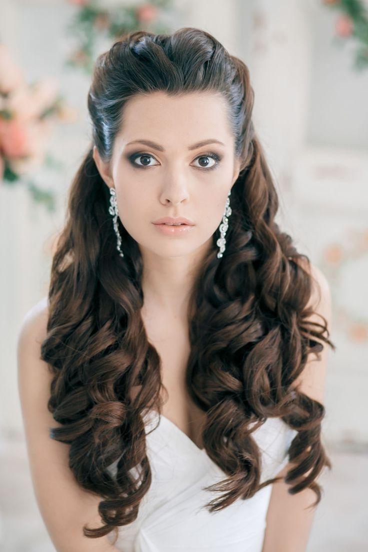 wedding hairstyles long hair half up half down veil | wedding