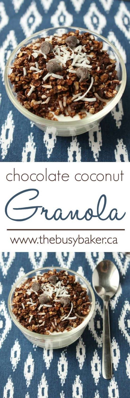 Chocolate Coconut Granola Recipe by www.thebusybaker.ca. Perfect for Valentine's Day breakfast!