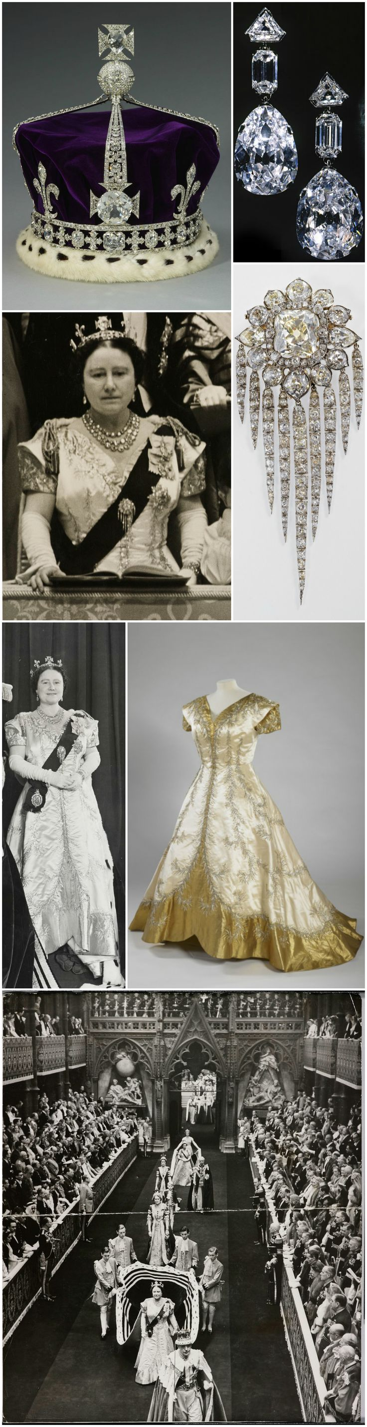 Queen Elizabeth The Queen Mother attended the 1953 Coronation wearing a crinoline-skirted Norman Hartnell gown in white satin bordered in gold tissue. Her jewels included Queen Victoria's Diamond Fringe Brooch and the Greville Peardrop Earrings (made in 1856 and 1938, respectively). She also wore the crown that was created for her own coronation in 1937, but without the arches. Photo of the Greville earrings is via Royal Magazin, remaining images are courtesy of the Royal Collection Trust.
