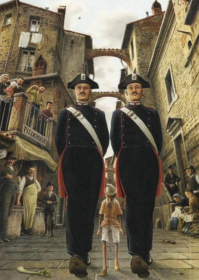 Pinocchio fermato dalla Legge del Karma - illustrazione di Roberto Innocenti www.meditazionegnostica.it