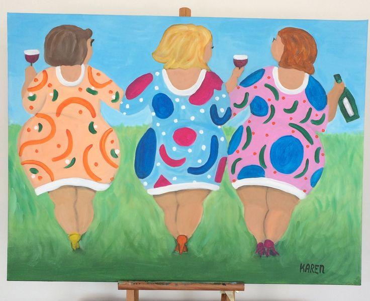 Nog maar een keer dikke dames geschilderd met acrylverf op doek.