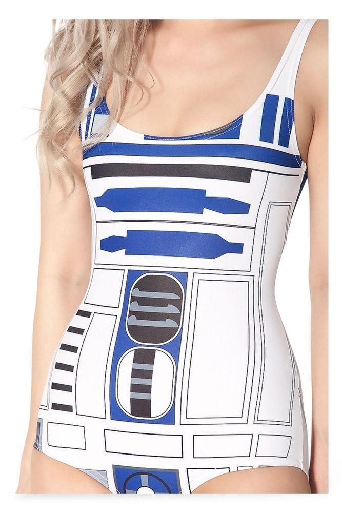 Sexy Star Wars R2-D2 R2D2 Robot Women Ladies One Piece Swimming Suit Swimsuit #HDPrintBodysuitSwimsuitSwimwear #OnePiece