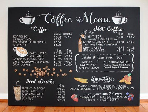 Hand Drawn Coffee Menu 36x48 Canvas Custom Ink Etsy Coffee Menu Coffee Shop Menu How To Draw Hands