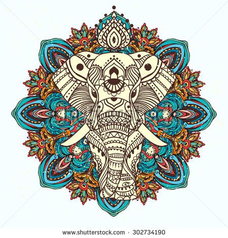 Greeting Beautiful card with Elephant. Frame of animal made in vector. Perfect cards, or for any other kind of design, birthday and other holiday.Seamless hand drawn map with Elephant. - stock vector