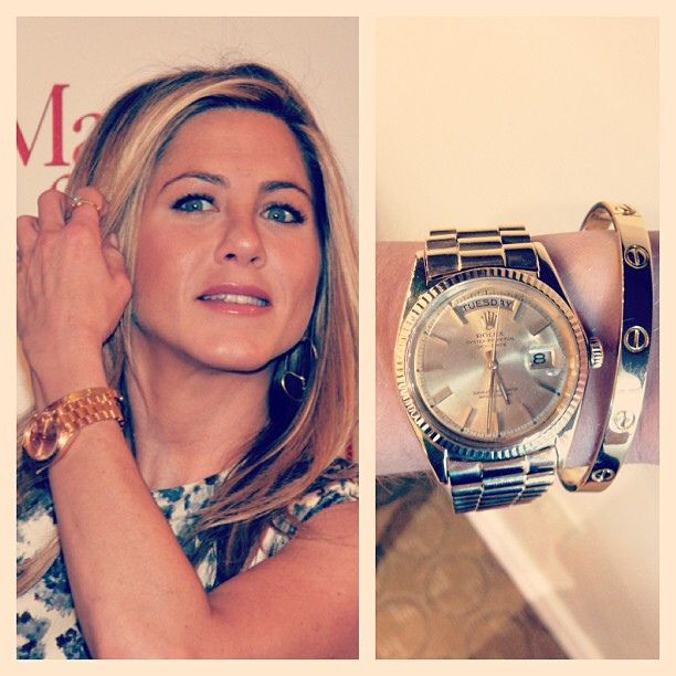 Get Jennifer Anniston's Red Carpet look with a yellow gold Cartier Love Bangle and yellow gold Rolex Presidential! #jenniferanniston #celebrity #look #ootd #fashion #style #luxury #designer #cartier #bracelet #gold #jewelry #rolex #president #presidential