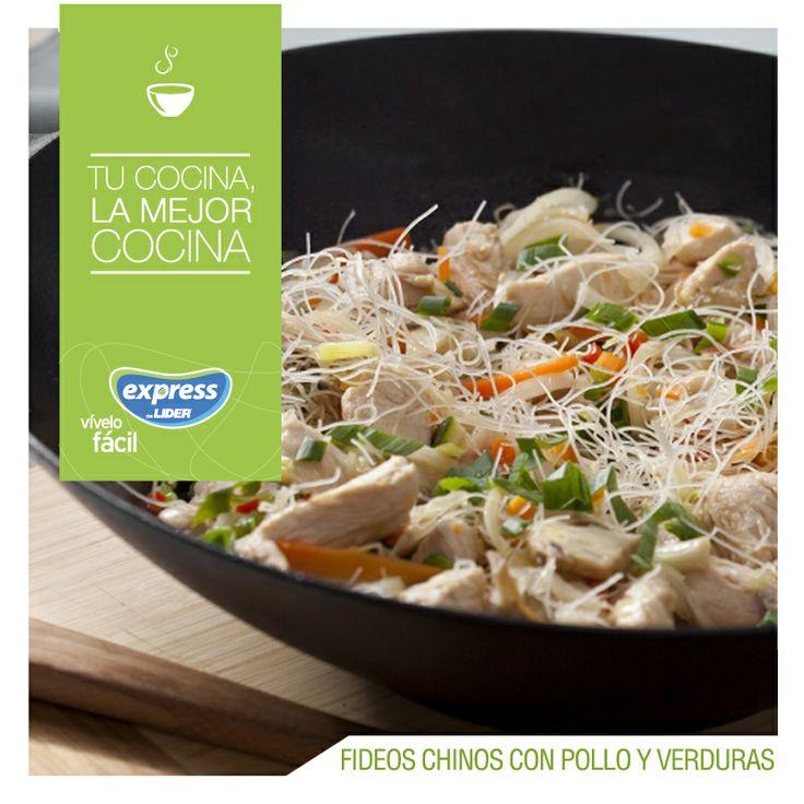 Fideos chinos con pollo y verduras. #Recetario #Receta #RecetarioExpress #Lider #Food #Foodporn