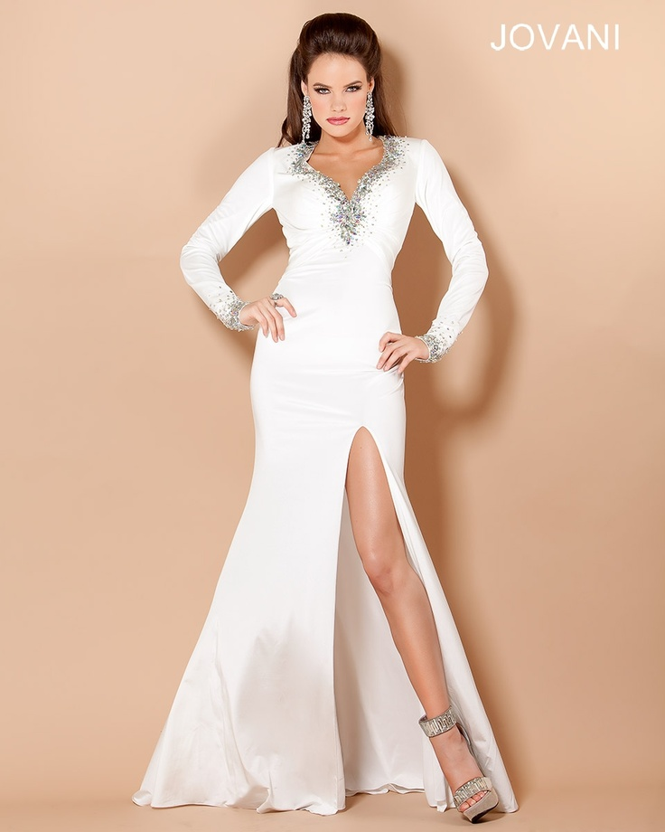 Jovani long sleeve dresses white