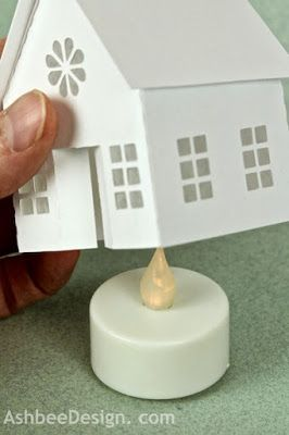 Ashbee Design Silhouette Projects: Tea Light Village Tutorial. Hmmmm, could this work for Putz houses if you didn't attach the base?: